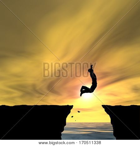 Concept conceptual 3D illustration young man businessman silhouette jump happy from cliff over water gap sunset sunrise sky background  for freedom, nature, mountain, success, free, joy, health risk