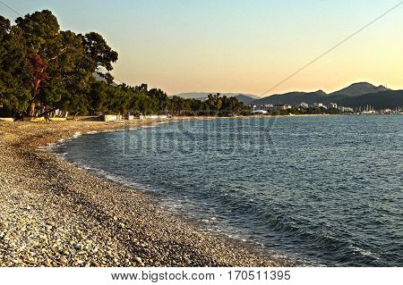 Sea landscape with the image of Bar district, Montenegro