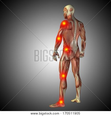 Conceptual 3D illustration of human anatomy body with pain and inflammation, gray gradient background health, medicine, medical, biology, osteoporosis, arthritis, joint, disease inflammation or ache