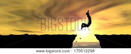Concept conceptual 3D illustration young man businessman silhouette jump happy from cliff over water gap sunset sunrise sky background banner for freedom, nature, mountain success free joy health risk