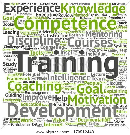 Concept or conceptual training, coaching or learning, study word cloud isolated on background metaphor to mentoring, development, skills, motivation, career, potential, goals or competence