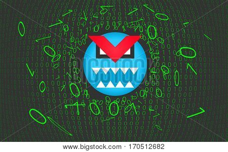Computer virus, trojan, malware, hacker attack concept background