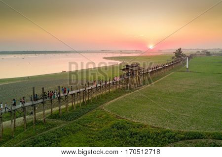 Aerial sunset view at the U-Bein bridge, in teak wood, Myanmar