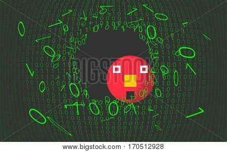 System failure, something goes wrong. Digital concept background. Vector Illustration