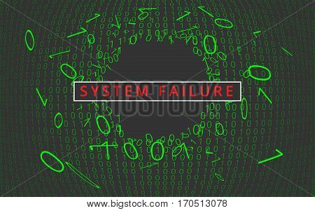 System failure. Digital concept background. Vector Illustration