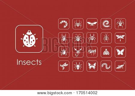 It is a set of insects simple web icons