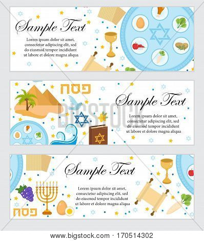 Happy Passover. Jewish holiday banner template for your design. Horizontal Border set. Vector illustration