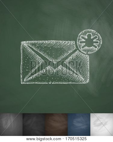 infected email icon. Hand drawn vector illustration. Chalkboard Design