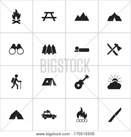 Set Of 16 Editable Travel Icons. Includes Symbols Such As Desk, Gait, Fever And More. Can Be Used For Web, Mobile, UI And Infographic Design.