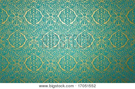 golden wall paper with blue fabric pattern