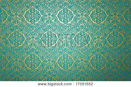 papel de pared de oro con el patrón de tela azul