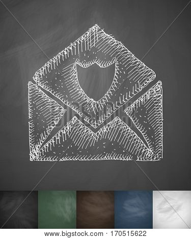 envelope antivirus icon. Hand drawn vector illustration. Chalkboard Design