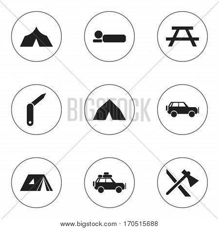 Set Of 9 Editable Trip Icons. Includes Symbols Such As Tepee, Sport Vehicle, Tomahawk And More. Can Be Used For Web, Mobile, UI And Infographic Design.