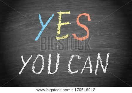 YES you can - motivation and coaching chalkboard