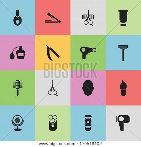 Set Of 16 Editable Coiffeur Icons. Includes Symbols Such As Shaving, Desiccator, Peeper And More. Can Be Used For Web, Mobile, UI And Infographic Design.