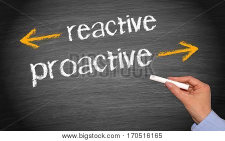 reactive and proactive - business concept chalkboard