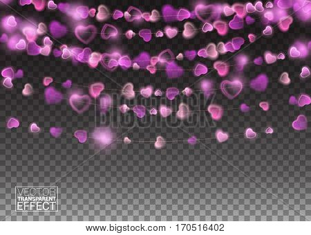Heart lights isolated realistic design elements. Glowing lights Holiday greeting card design. Garlands decorations. Led neon lamp.