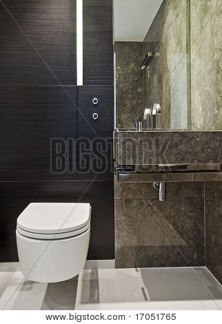 luxury modern en-suite bathroom with brown marble