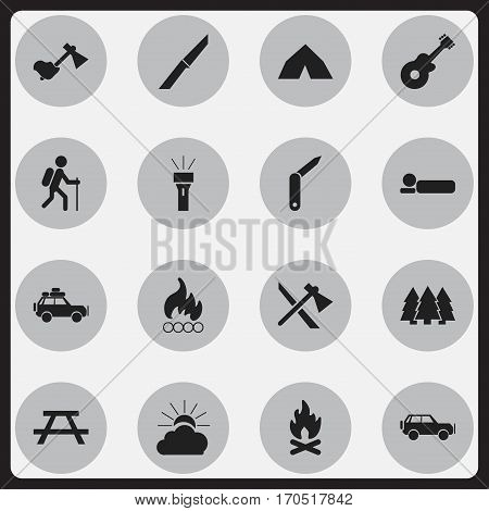 Set Of 16 Editable Travel Icons. Includes Symbols Such As Tepee, Desk, Ax And More. Can Be Used For Web, Mobile, UI And Infographic Design.
