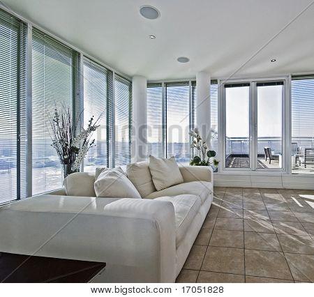 massive luxury living room with terrace access door