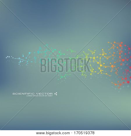 Molecule DNA and neurons vector. Molecular structure. Connected lines with dots. Genetic chemical compounds. Chemistry, medicine, science, technology concept. Geometric abstract background