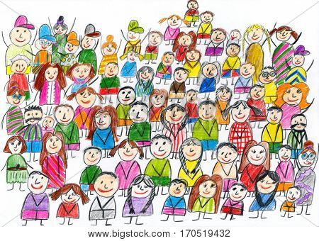 peoples team group portrait, children drawing object on paper, hand drawn art picture