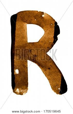 Letter R  -- alphabet in coffee