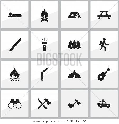 Set Of 16 Editable Camping Icons. Includes Symbols Such As Refuge, Knife, Gait And More. Can Be Used For Web, Mobile, UI And Infographic Design.