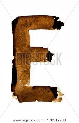 Letter E -- alphabet in coffee