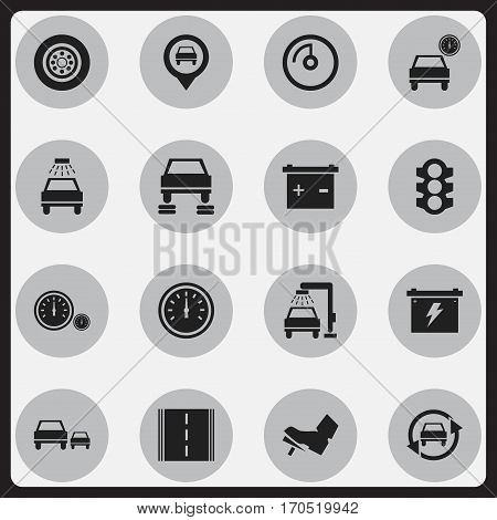 Set Of 16 Editable Traffic Icons. Includes Symbols Such As Auto Repair, Stoplight, Tuning Auto And More. Can Be Used For Web, Mobile, UI And Infographic Design.