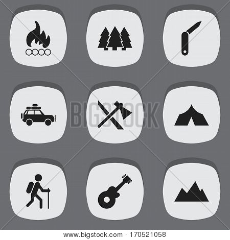 Set Of 9 Editable Trip Icons. Includes Symbols Such As Peak, Tomahawk, Pine And More. Can Be Used For Web, Mobile, UI And Infographic Design.