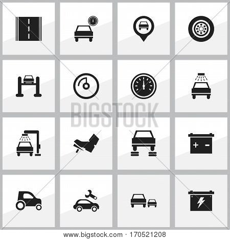 Set Of 16 Editable Vehicle Icons. Includes Symbols Such As Vehicle Wash, Tire, Race And More. Can Be Used For Web, Mobile, UI And Infographic Design.