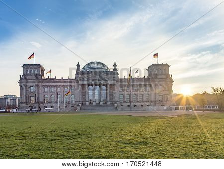 Sunrise At The Reichstag In Berlin