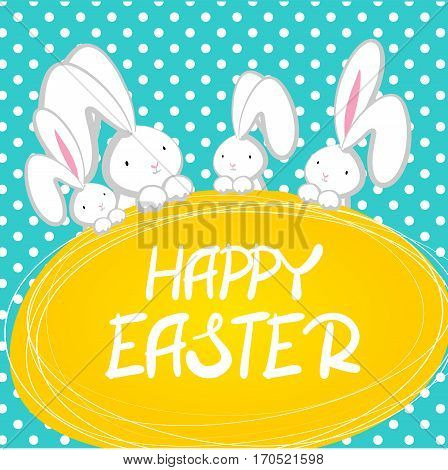 Blue halftone background. Vector festive hand drawn illustration. Comic bubble, empty balloon. Four white cute rabbit with big ears pink nose, congratulates Happy Easte.