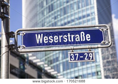 Street Name Weserstrasse At The Enamel Sign