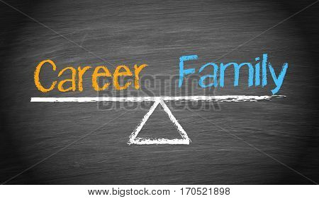 Career and Family - balance concept seesaw with text