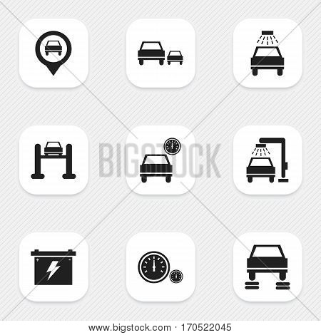 Set Of 9 Editable Vehicle Icons. Includes Symbols Such As Vehicle Wash, Race, Automobile And More. Can Be Used For Web, Mobile, UI And Infographic Design.