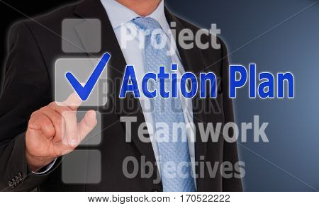 Action Plan - Businessman with touchscreen options