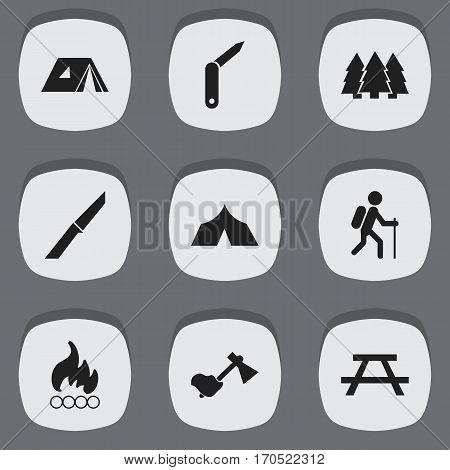 Set Of 9 Editable Camping Icons. Includes Symbols Such As Knife, Refuge, Ax And More. Can Be Used For Web, Mobile, UI And Infographic Design.
