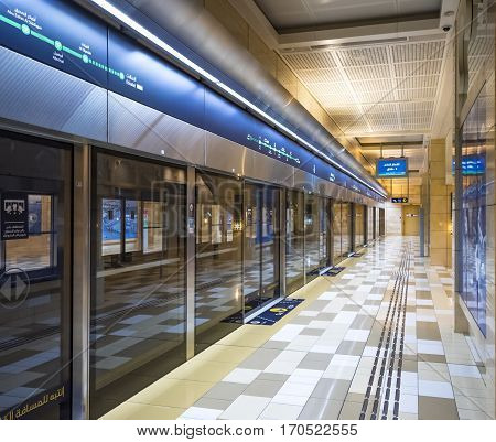 DUBAI, UAE - JANUARY 20, 2017: Interior of Dubai Metro - world's longest fully automated metro network (75 km). The Metro is one of most effective way to explore and discover Dubai City.