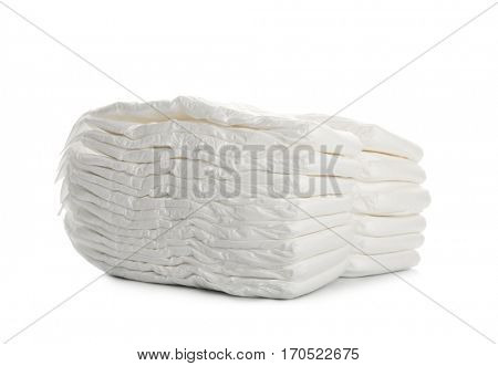 Baby diapers, on white background