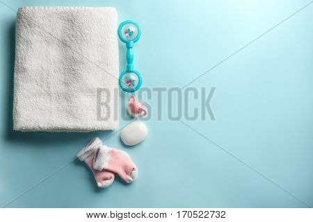 Baby necessities on blue background