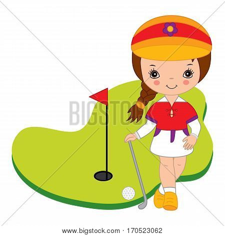 Vector hand drawn little cute girl playing golf