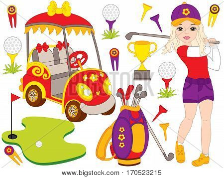 Vector golf set with girl playing golf, golf bag and golf buggy