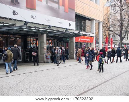 BERLIN GERMANY - FEBRUARY 11 2017: Cinemagoers In Front of The Berlin International Film Festival Berlinale Cinema At Potsdamer Platz Berlin