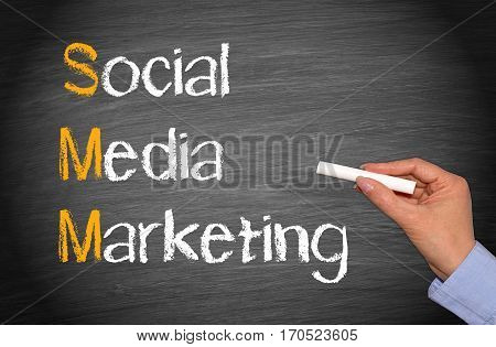 SMM - Social Media Marketing - female hand with text