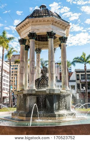 SAN DIEGO, CALIFORNIA - JANUARY 8, 2017:  Historic Horton Plaza fountain, completed in 1910 and designed by Irving Gill.