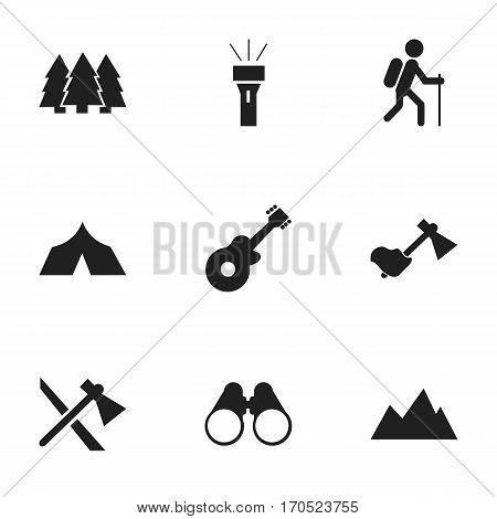 Set Of 9 Editable Camping Icons. Includes Symbols Such As Musical Instrument, Refuge, Field Glasses And More. Can Be Used For Web, Mobile, UI And Infographic Design.