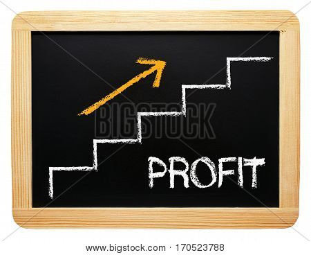 Profit - chalkboard with staircase and arrow on white background