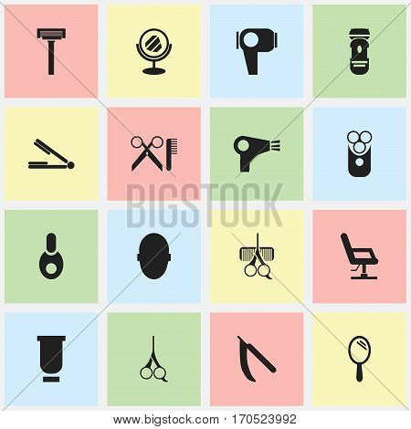 Set Of 16 Editable Hairdresser Icons. Includes Symbols Such As Desiccator, Shaver, Vial And More. Can Be Used For Web, Mobile, UI And Infographic Design.